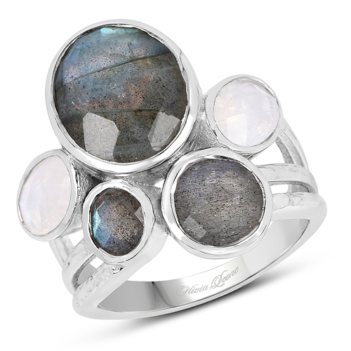Rings-8.59 Carat Genuine Labradorite And White Rainbow Moonstone .925 Sterling Silver Ring