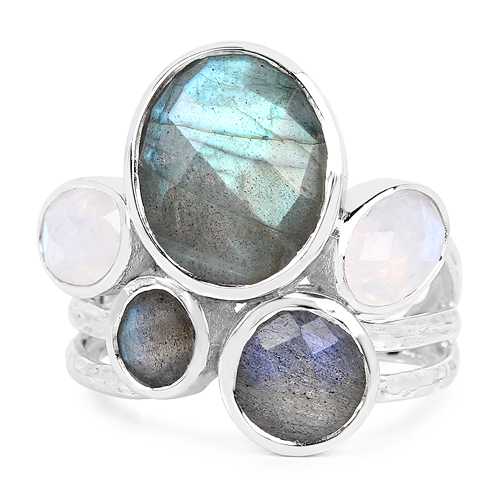 8.59 Carat Genuine Labradorite And White Rainbow Moonstone .925 Sterling Silver Ring