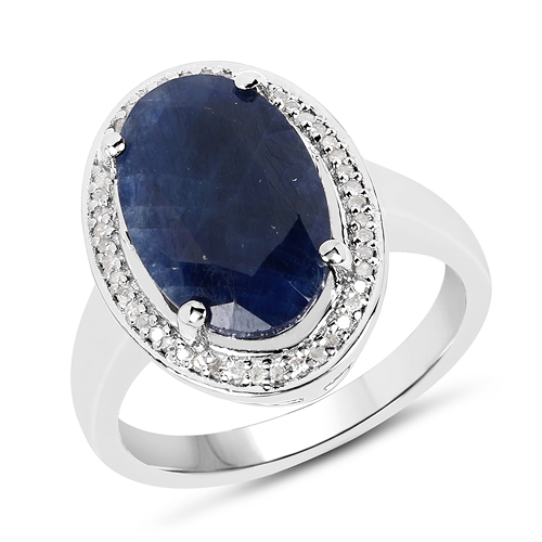 Sapphire-6.39 Carat Genuine Sapphire and White Diamond .925 Sterling Silver Ring