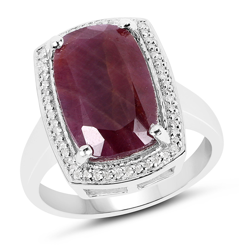Ruby-7.16 Carat Genuine Ruby And White Diamond .925 Sterling Silver Ring
