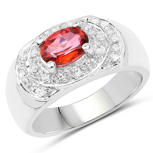Rings-1.37 Carat Genuine Pink Topaz and White Cubic Zirconia .925 Sterling Silver Ring