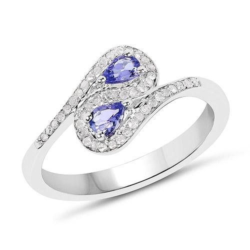 Tanzanite-0.42 Carat Genuine Tanzanite and White Diamond .925 Sterling Silver Ring