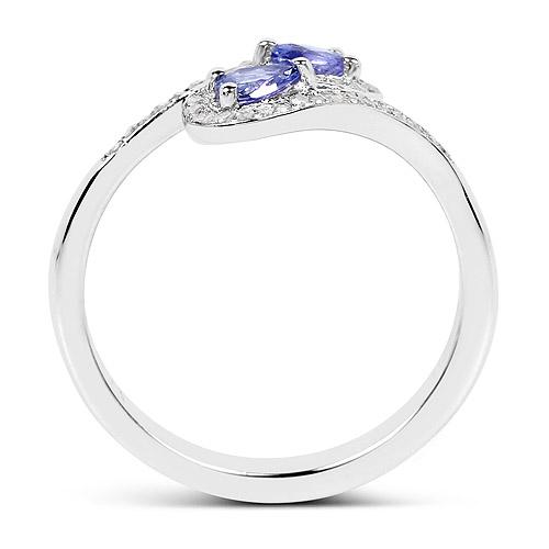 0.42 Carat Genuine Tanzanite and White Diamond .925 Sterling Silver Ring