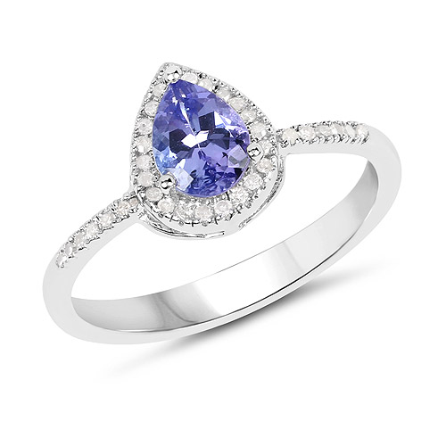 Tanzanite-0.75 Carat Genuine Tanzanite and White Diamond .925 Sterling Silver Ring