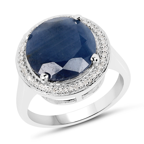 Sapphire-7.05 Carat Genuine Sapphire and White Diamond .925 Sterling Silver Ring
