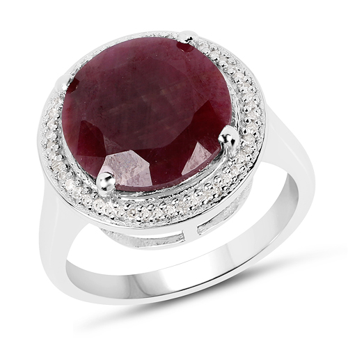 Ruby-8.35 Carat Genuine Ruby And White Diamond .925 Sterling Silver Ring