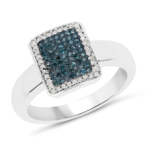 Diamond-0.52 Carat Genuine Blue Diamond and White Diamond .925 Sterling Silver Ring