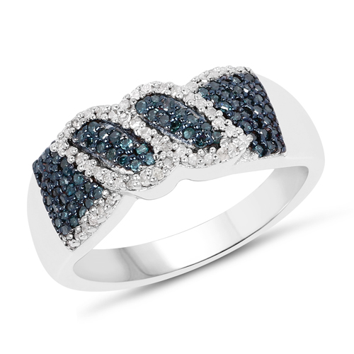 Diamond-0.67 Carat Genuine Blue Diamond and White Diamond .925 Sterling Silver Ring