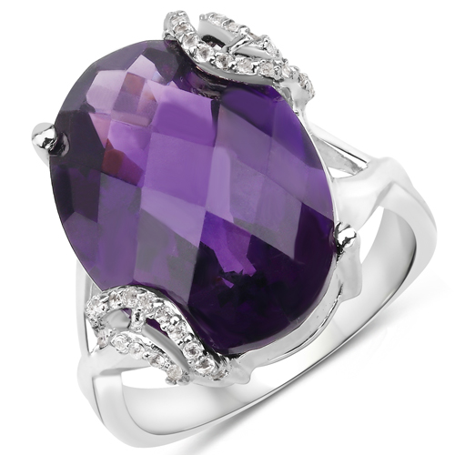 Amethyst-10.44 Carat Genuine Amethyst and White Topaz .925 Sterling Silver Ring