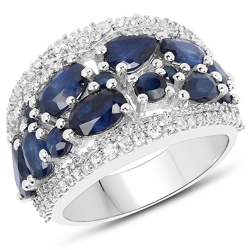 Sapphire-3.61 Carat Genuine Blue Sapphire and White Zircon .925 Streling Silver Ring