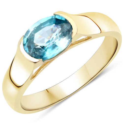 Rings-14K Yellow Gold Plated 2.00 Carat Genuine Blue Zircon .925 Sterling Silver Ring