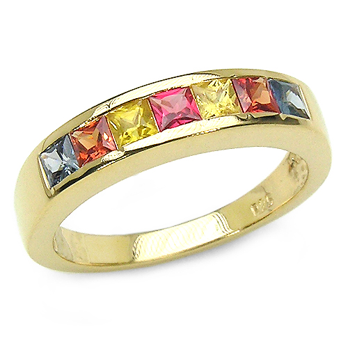Sapphire-14K Yellow Gold Plated 1.26 Carat Genuine Multi Sapphire .925 Sterling Silver Ring