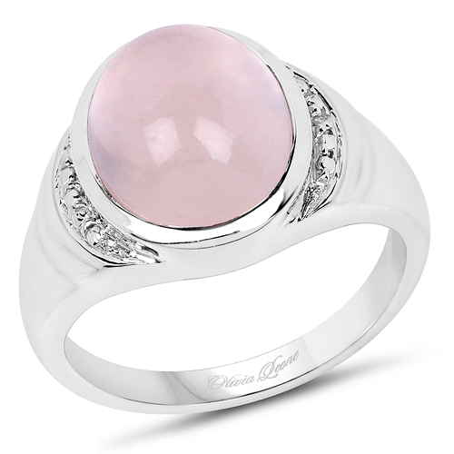 Rings-4.70 Carat Genuine Rose Quartz .925 Sterling Silver Ring