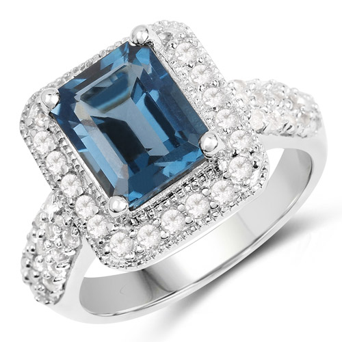 Rings-5.14 Carat Genuine London Blue Topaz and White Topaz .925 Sterling Silver Ring