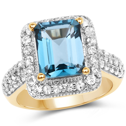 Rings-14K Yellow Gold Plated 5.03 Carat Genuine London Blue Topaz and White Topaz .925 Sterling Silver Ring
