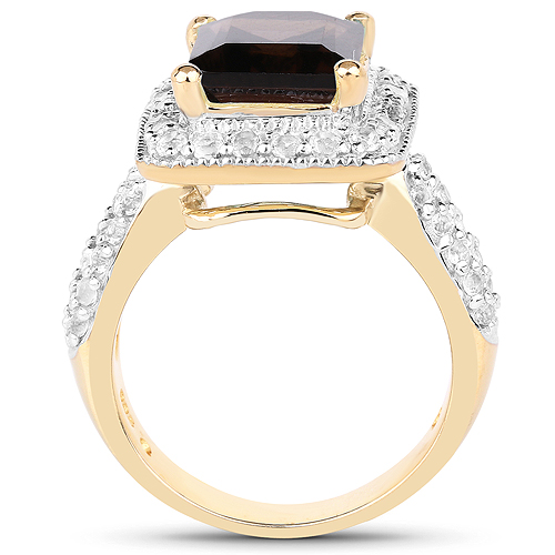 SVC-JEWELS 14k Black Gold Over 925 Sterling Silver Brown Smoky Quartz Cluster Engagement Wedding Band Ring Mens