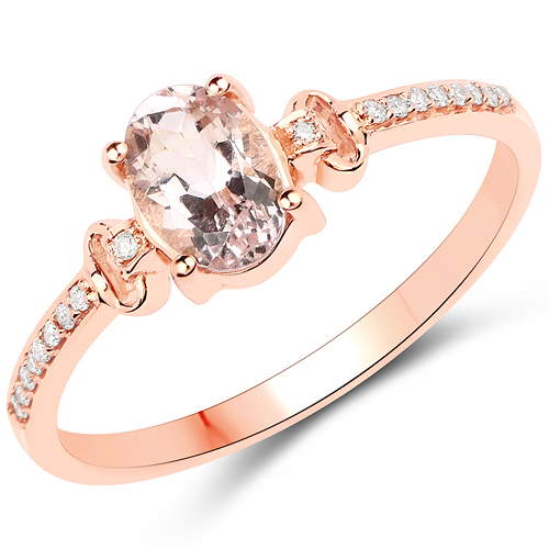 Rings-0.75 Carat Genuine Morganite and White Diamond 18K Rose Gold Ring
