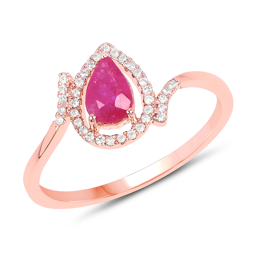 Ruby-0.61 Carat Genuine Ruby and White Diamond 14K Rose Gold Ring
