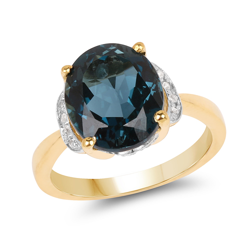 Rings-14K Yellow Gold Plated 6.09 Carat Genuine London Blue Topaz & White Diamond .925 Sterling Silver Ring