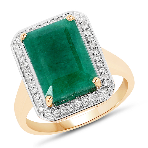 Emerald-5.71 Carat Dyed Emerald and White Diamond 14K Yellow Gold Ring