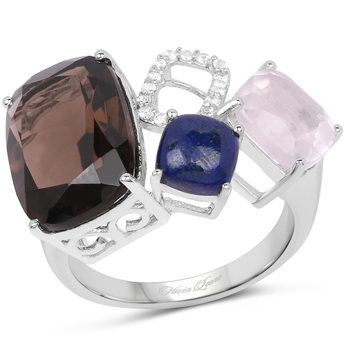 Rings-7.51 Carat Genuine Multi Stone .925 Sterling Silver Ring