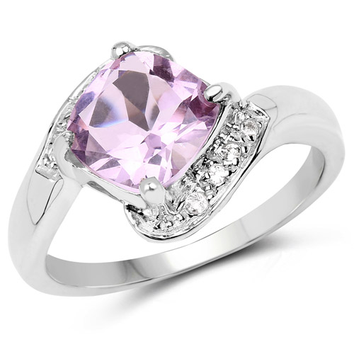 Amethyst-2.24 Carat Genuine Pink Amethyst and White Topaz .925 Sterling Silver Ring