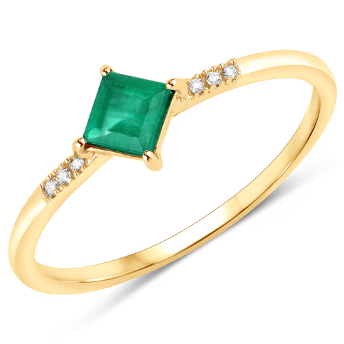 Emerald-0.42 Carat Genuine Zambian Emerald and White Diamond 14K Yellow Gold Ring