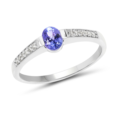 Tanzanite-0.40 Carat Genuine Tanzanite and White Diamond 14K White Gold Ring