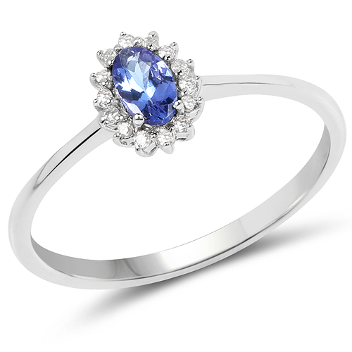 Tanzanite-0.32 Carat Genuine Tanzanite and White Diamond 14K White Gold Ring