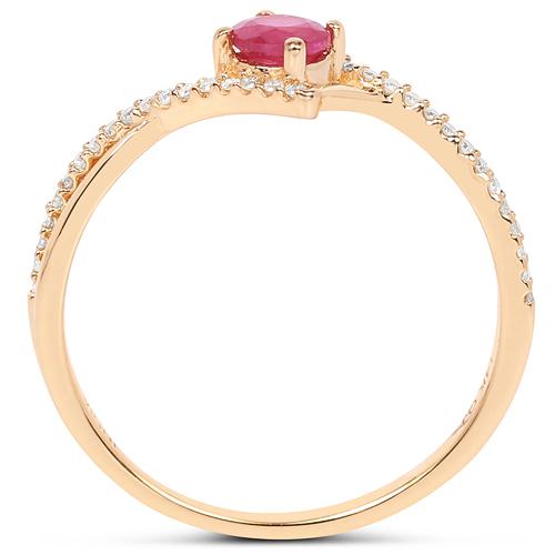 0.41 Carat Genuine Ruby and White Diamond 14K Yellow Gold Ring