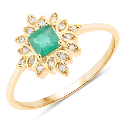Emerald-0.40 Carat Genuine Zambian Emerald and White Diamond 14K Yellow Gold Ring