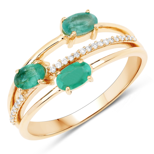 Emerald-0.64 Carat Genuine Zambian Emerald and White Diamond 14K Yellow Gold Ring