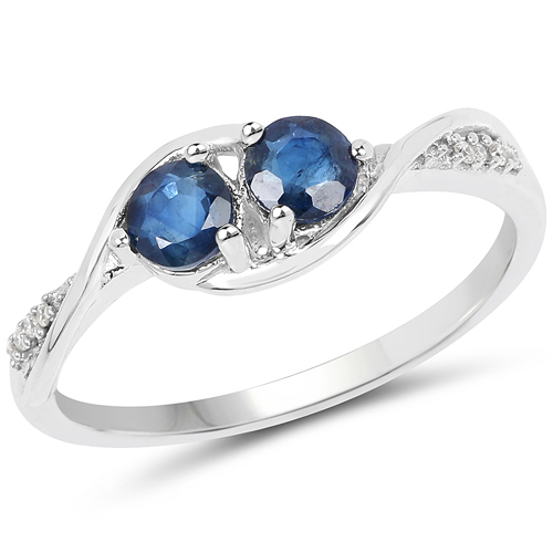 Sapphire-0.62 Carat Genuine Blue Sapphire and White Diamond 14K White Gold Ring