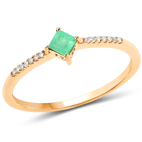 Emerald-0.19 Carat Genuine Zambian Emerald and White Diamond 14K Yellow Gold Ring