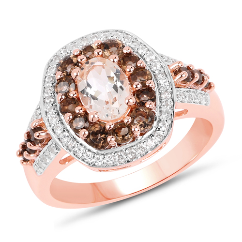 Rings-18K Rose Gold Plated 1.62 Carat Genuine Morganite, Smoky Quartz and White Zircon .925 Sterling Silver Ring