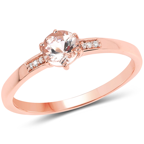Rings-0.43 Carat Genuine Morganite and White Diamond 14K Rose Gold Ring