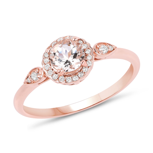 Rings-0.50 Carat Genuine Morganite and White Diamond 14K Rose Gold Ring