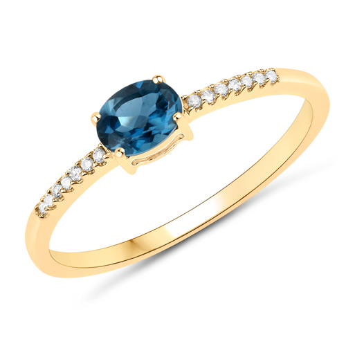 Rings-0.44 Carat Genuine London Blue Topaz and White Diamond 14K Yellow Gold Ring