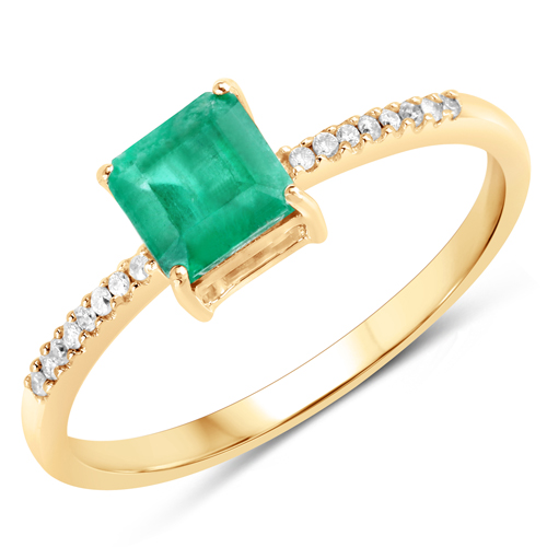 Emerald-0.65 Carat Genuine Zambian Emerald and White Diamond 14K Yellow Gold Ring