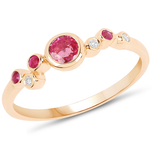 Ruby-0.41 Carat Genuine Ruby and White Diamond 14K Yellow Gold Ring