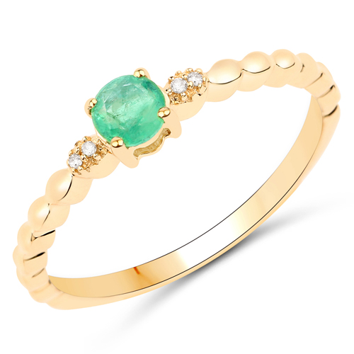 Emerald-0.24 Carat Genuine Zambian Emerald and White Diamond 14K Yellow Gold Ring