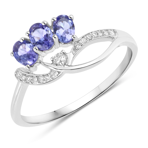 Tanzanite-0.57 Carat Genuine Tanzanite and White Diamond 14K White Gold Ring