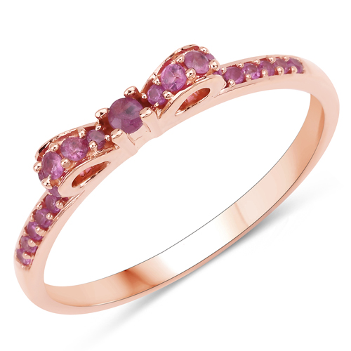 Ruby-0.32 Carat Genuine Ruby 14K Rose Gold Ring