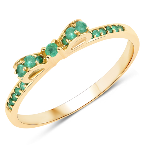 Emerald-0.27 Carat Genuine Zambian Emerald 14K Yellow Gold Ring