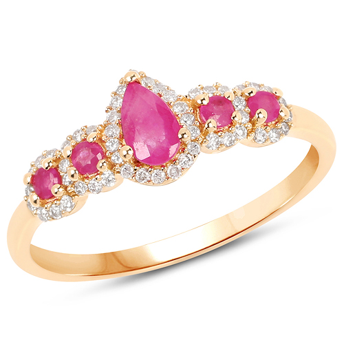 Ruby-0.56 Carat Genuine Ruby and White Diamond 14K Yellow Gold Ring