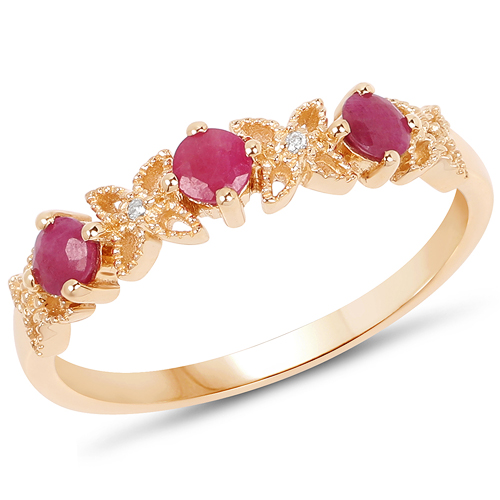 Ruby-0.40 Carat Genuine Ruby and White Diamond 14K Yellow Gold Ring