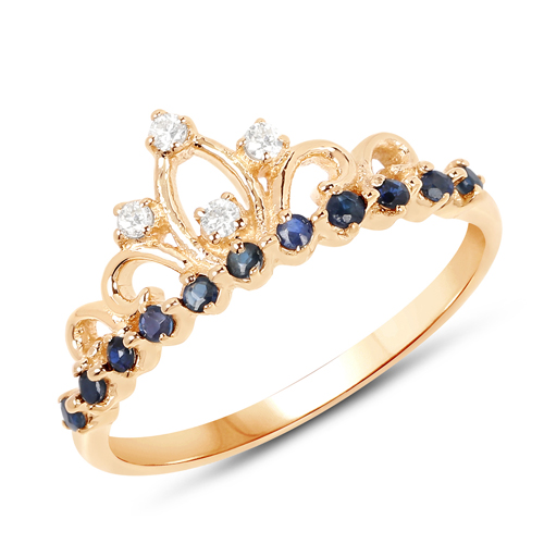 Sapphire-0.28 Carat Genuine Blue Sapphire and White Diamond 14K Yellow Gold Ring