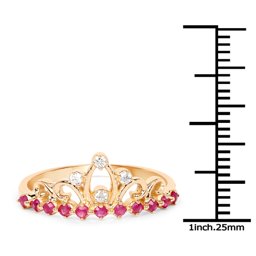 0.27 Carat Genuine Ruby and White Diamond 14K Yellow Gold Ring