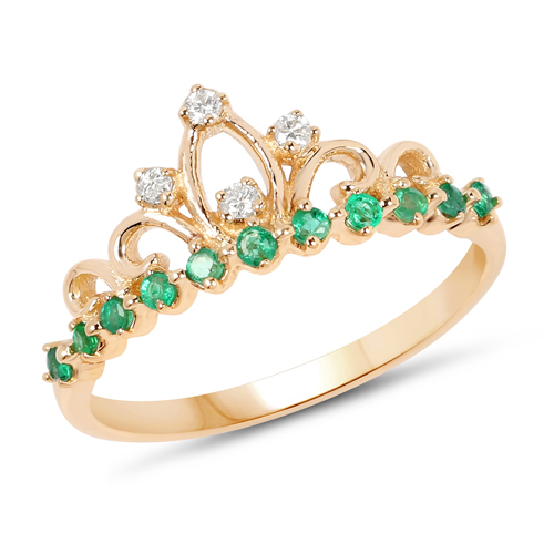 Emerald-0.28 Carat Genuine Zambian Emerald and White Diamond 14K Yellow Gold Ring