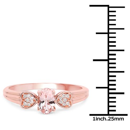 0.47 Carat Genuine Morganite and White Diamond 14K Rose Gold Ring